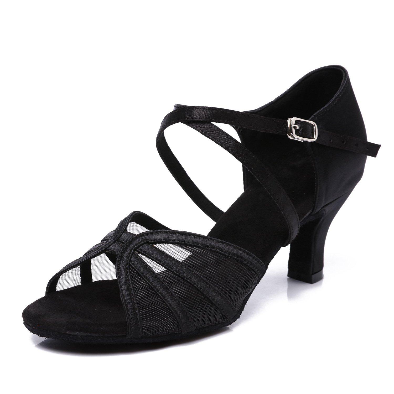 CLEECLI Women's Ballroom Dance Shoes Latin Salsa Dancing Shoes+Shoes Bag ZB04(8,Black-2.5 Inch Heel)