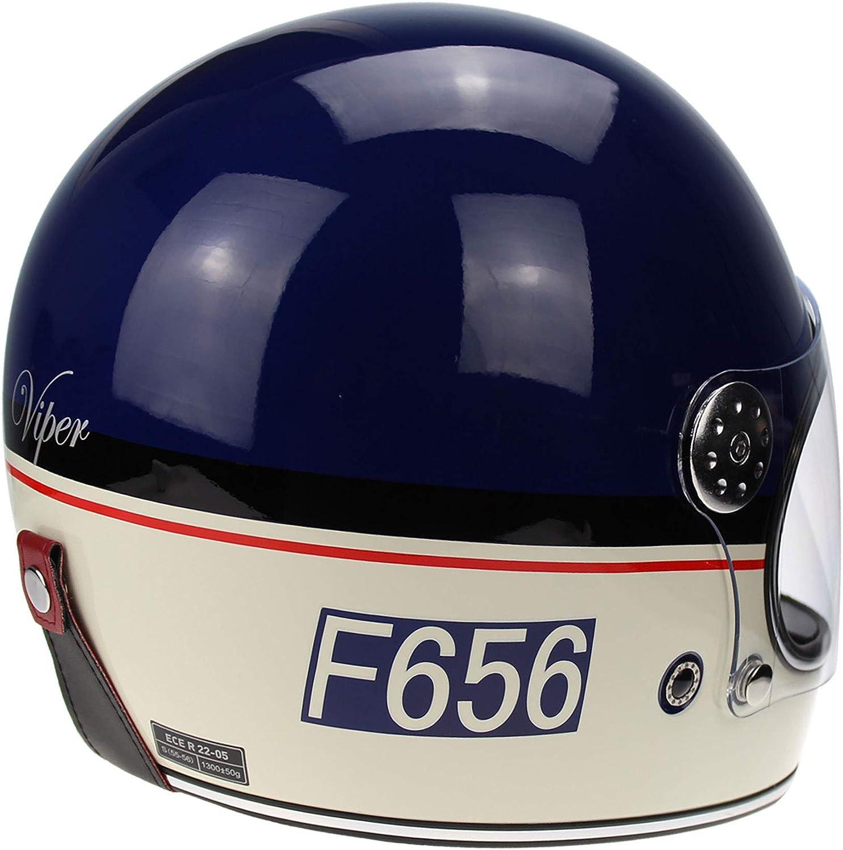 F656 Viper Fiberglass Gringo Helmet Vintage Stil Retro 70s Custom Chopper Bobber Integrale Ece Dot Genehmigt Blau S 55 56 Cm Auto
