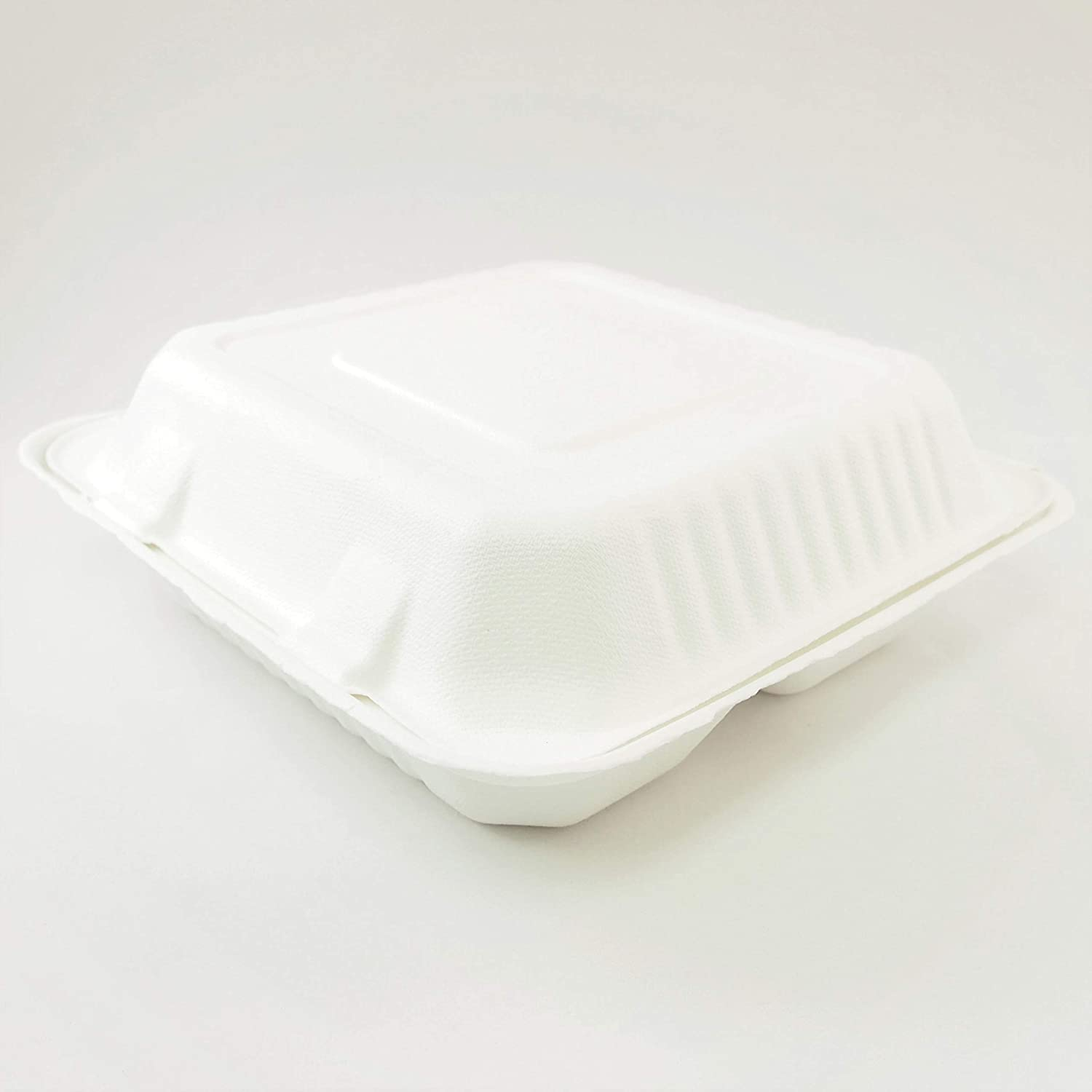 50 Pack Disposable 100/% Biodegradable Compostable 9x 9 Clamshell 3-Compartment Carryout Takeout Containers by Walvis Eco Products