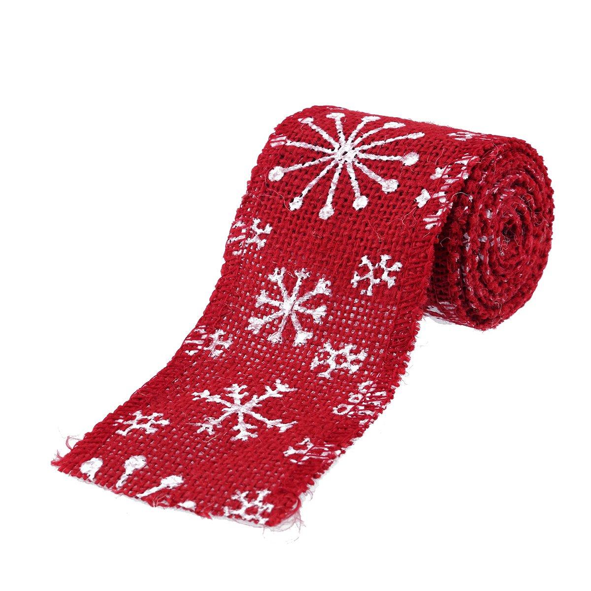SUPVOX 2M 6CM Fiocco di Neve Stile Artigianale Nastro per Artigianato Fai da Te casa Matrimonio Decorazione di Natale (Rosso + Bianco)