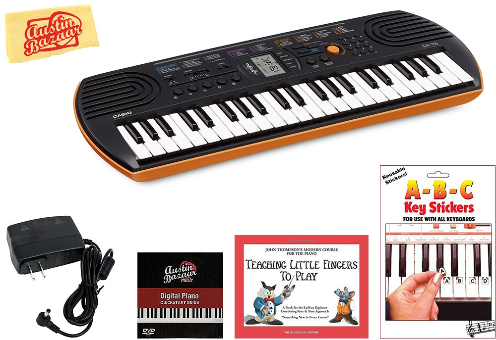 Casio SA-76 Mini Keyboard Bundle with Power Supply, Removeable Stickers, Instructional Book, Austin Bazaar Instructional DVD, and Polishing Cloth by Casio