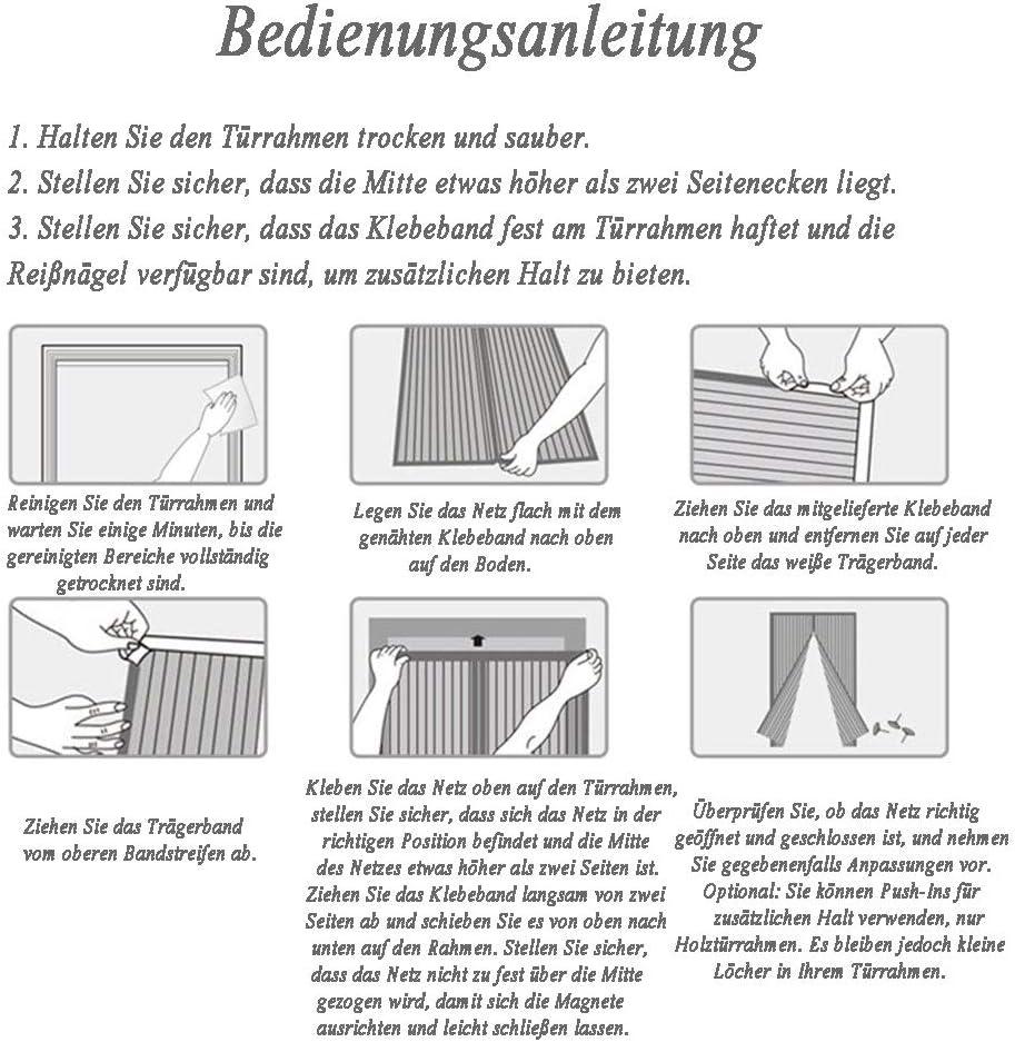 YNND Magnet Fliegengitter T/ür Insektenschutz Klebemontage Ohne Bohren Kellert/ür und Terrassent/ür der Magnetvorhang ist Ideal f/ür Die Balkont/ür