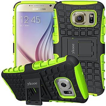 ykooe Funda para Galaxy S6, Samsung S6 Teléfono Híbrida de Doble Capa con Soporte Carcasa para Samsung Galaxy S6 (Verde)