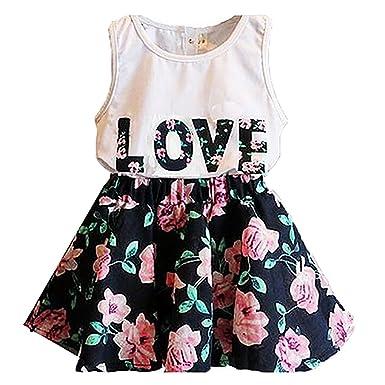 134fbfdb81420 Gemini_mall® Kids Girls Love Letters Printed Sleeveless Vest T Shirt ...