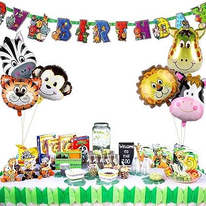 PartyTalk 6pcs Jungle Safari Animal Balloons With Zoo Happy Birthday Banner Animals