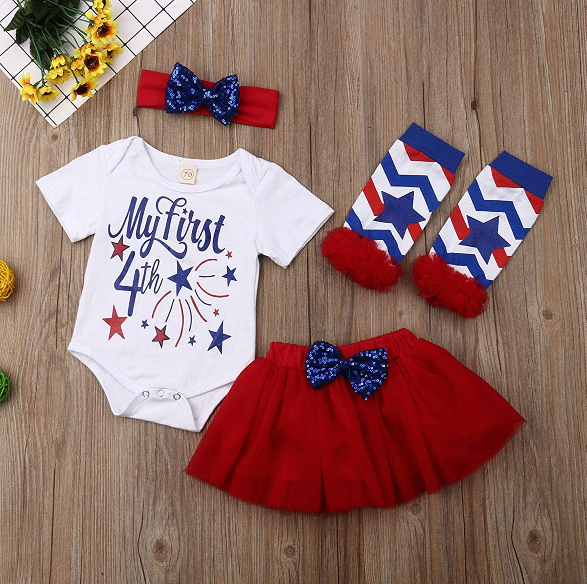 Independence Day Baby Girls Cute Short Sleeve Romper Jumpsuit Bodysuit Top+Bowknot Party Tutu Skirt Outfits Set