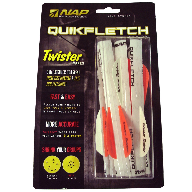 New Archery Products 60-637  6-Pack 2-Inch Quickfletch Twister Vanes (White/Orange)