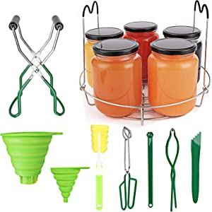 Canning Set, Canning Supplies Canning Essentials Set Canning Rack Jar Lifter Tongs Jar Wrench Silicone Collapsible Funnel for Regular/Wide Mouth Mason Jars Ball Jars(9PCS)
