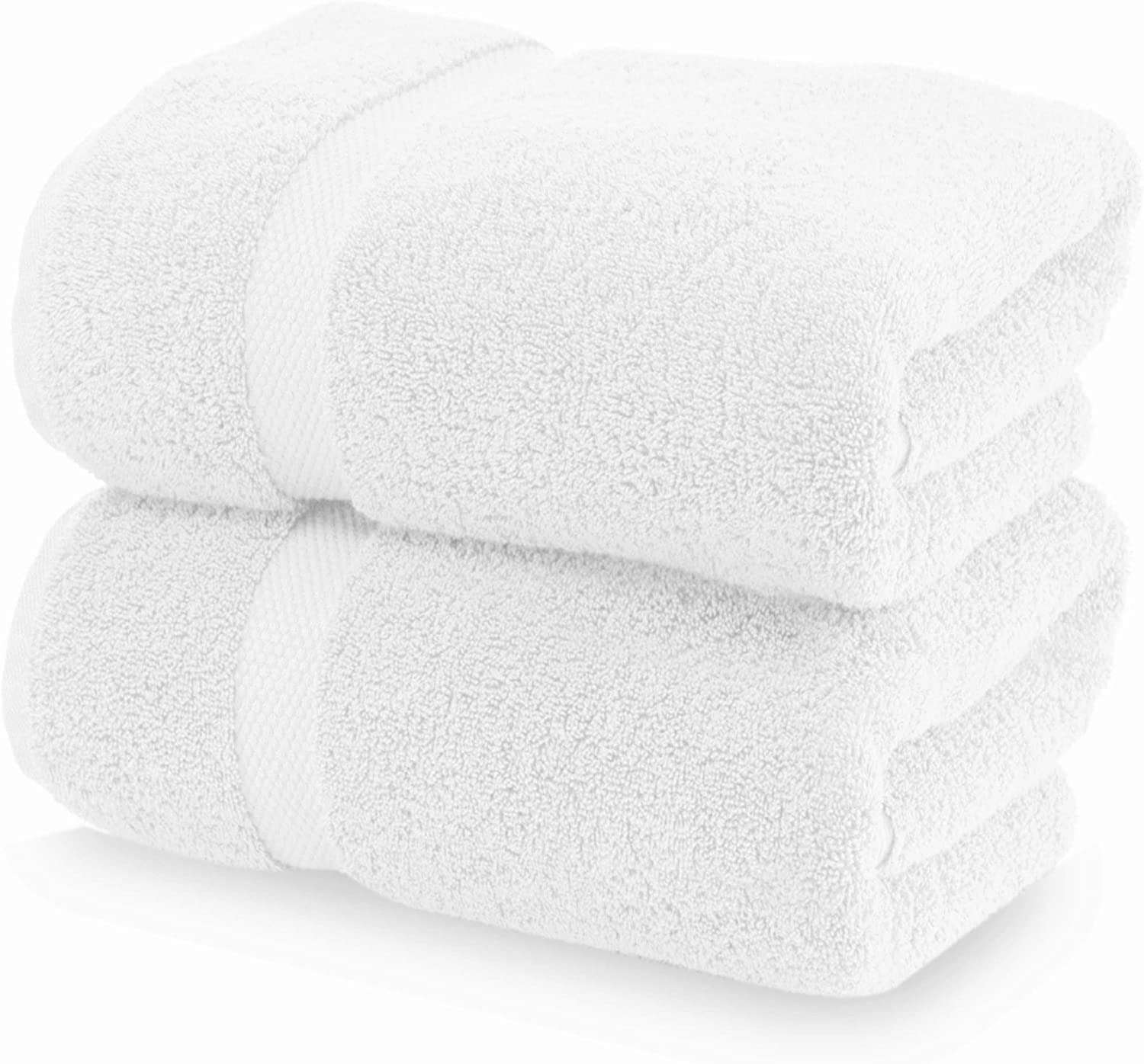 Luxury White Bath Towels Large - Circlet Egyptian Cotton   Highly Absorbent Hotel spa Collection Bathroom Towel   30x56 Inch   Set of 2