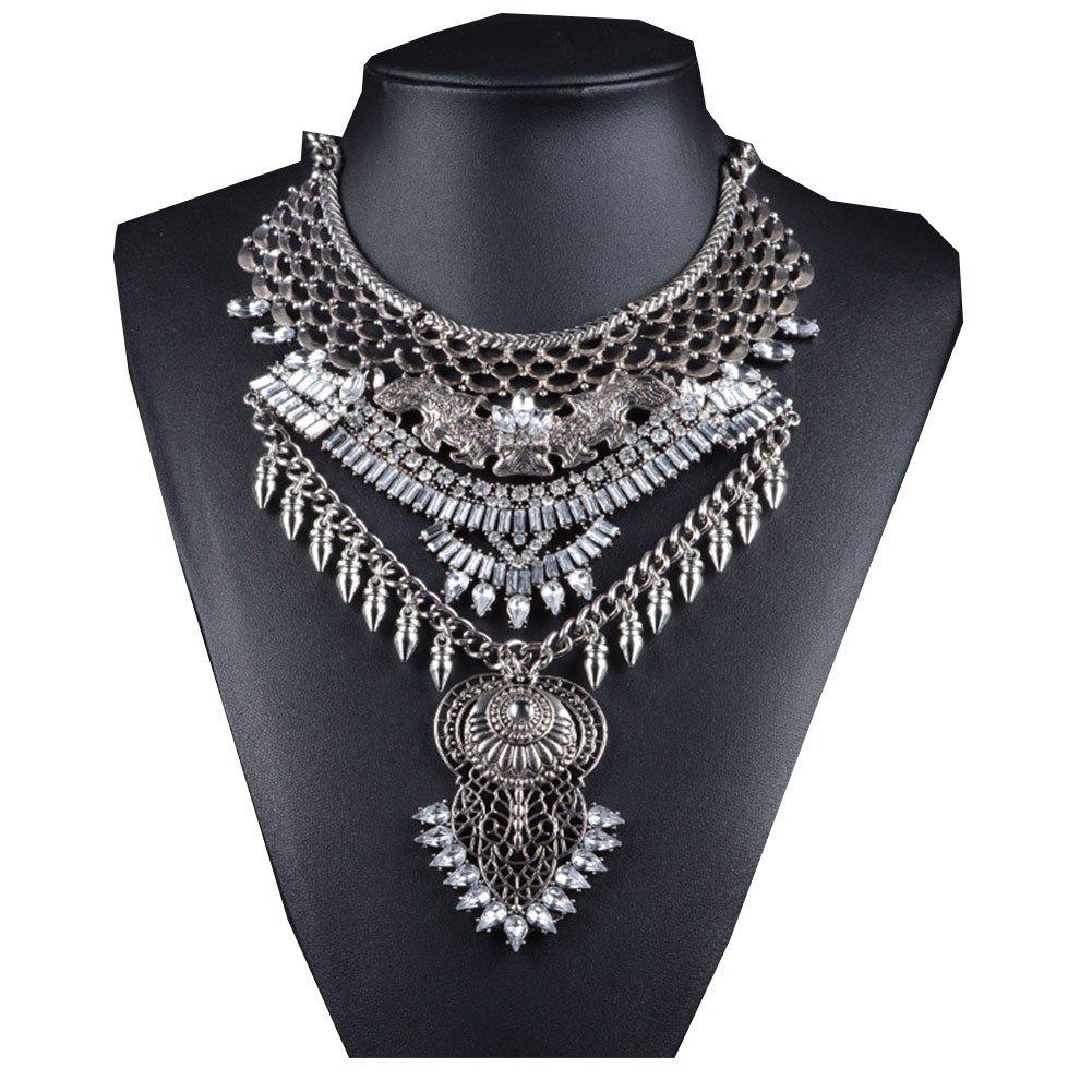 NABROJ Owl Style Women Statement Necklace, Bib Necklace Women Fashion Necklace Retro Style Indian Jewelry Silver 1PC Gift Box-HL15 Silver