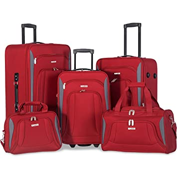 Flieks 5 Piece Luggage Set Deluxe Expandable Rolling Suitcase (Red.)