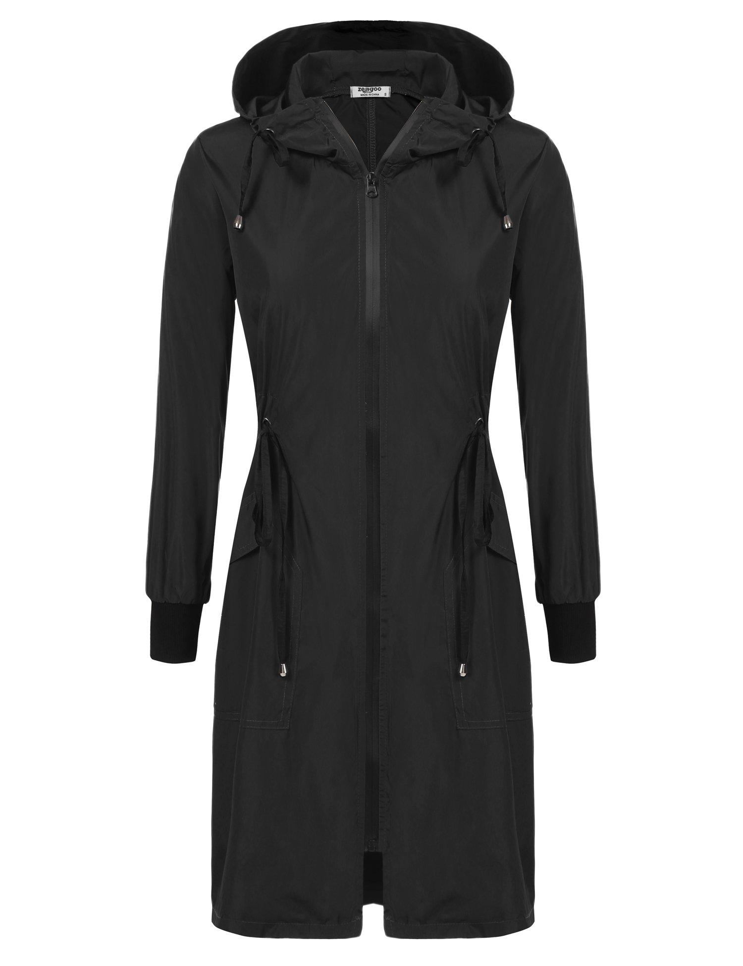 ELESOL Lightweight Rain Jacket Women Hooded Raincoat Waterproof Windbreaker