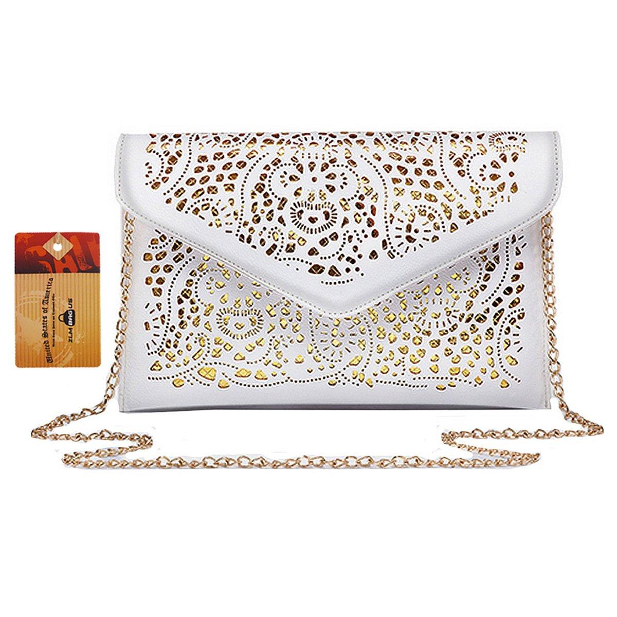 ZLM BAG US Women Hollow Out Floral Pattern Envelope Handbag Fashion PU Tote Evening Clutch Chain Crossbody Shoulder Bag White