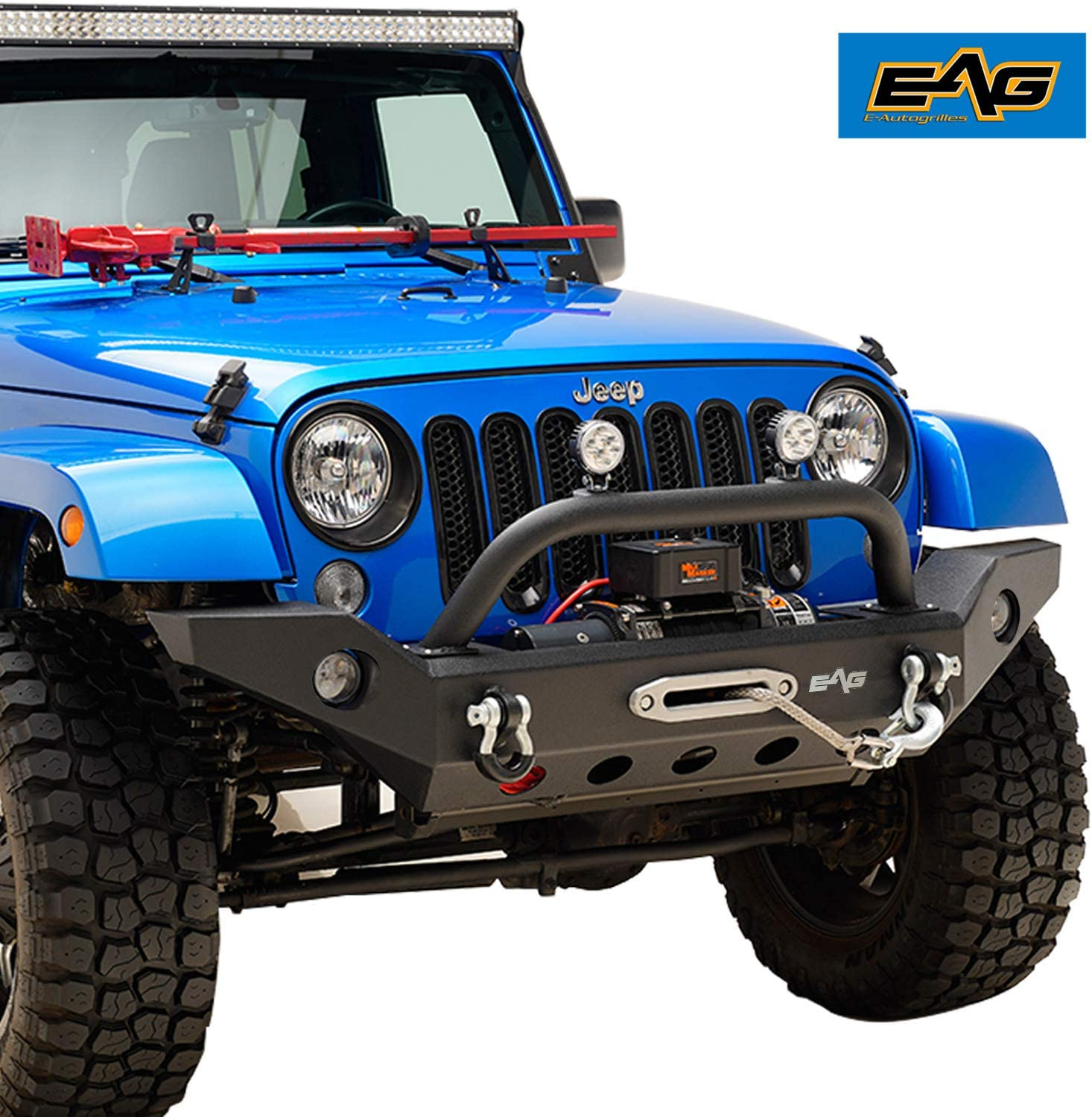 Jeep Wrangler Fog Lights >> Eag Fits 07 18 Jeep Wrangler Jk Front Bumper With Fog Light Hole Offroad