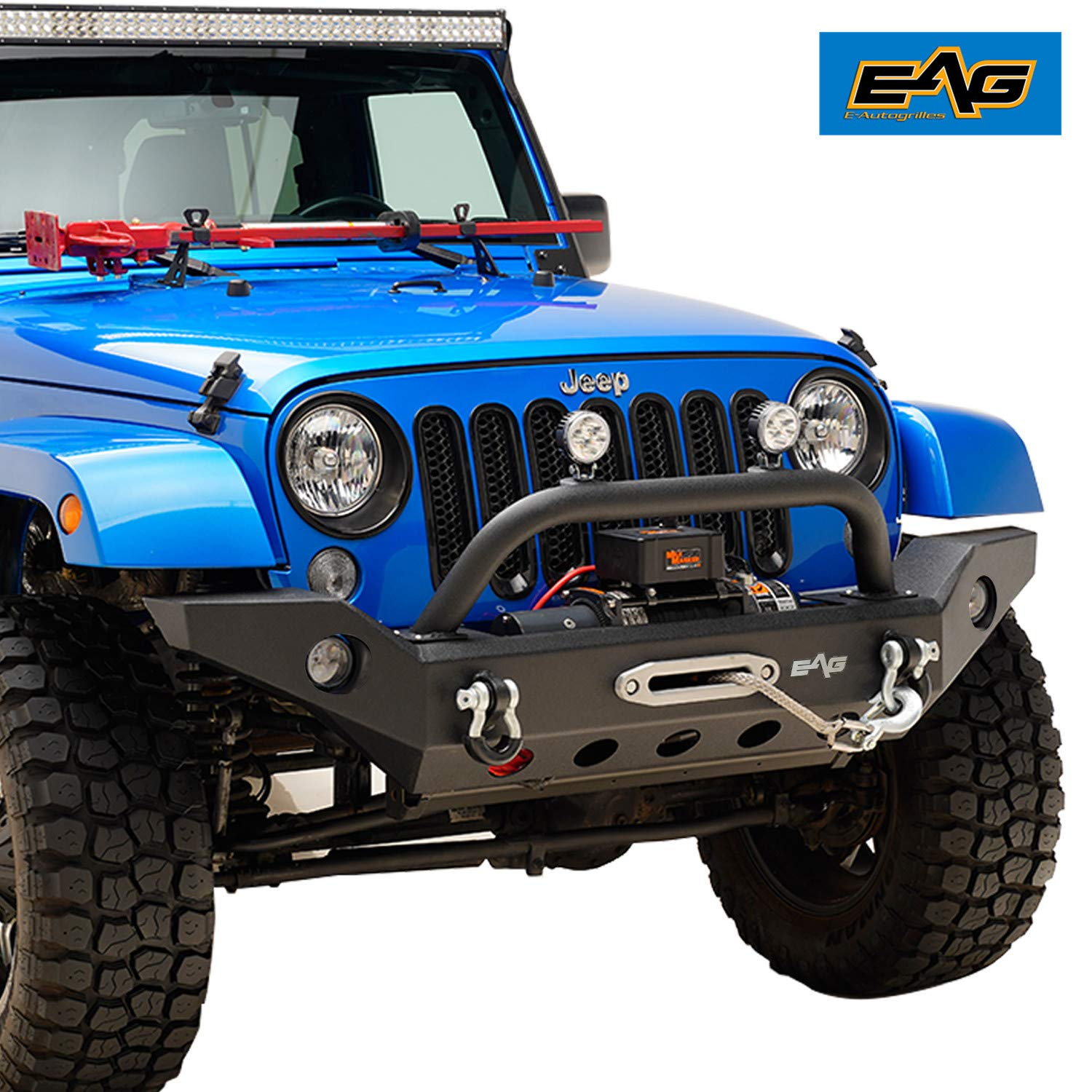Jeep Wrangler Jk Front Bumper >> Eag Front Bumper With Winch Plate And D Rings Black Textured Fit For 07 18 Jeep Wrangler Jk Offroad