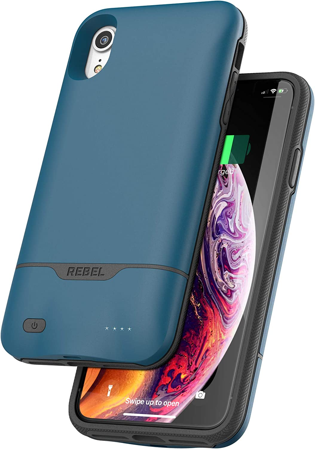 Encased iPhone XR Battery Case - 5270mAh Protective Charging Case with Extended Smart Power Reserve (Rebel Blue)