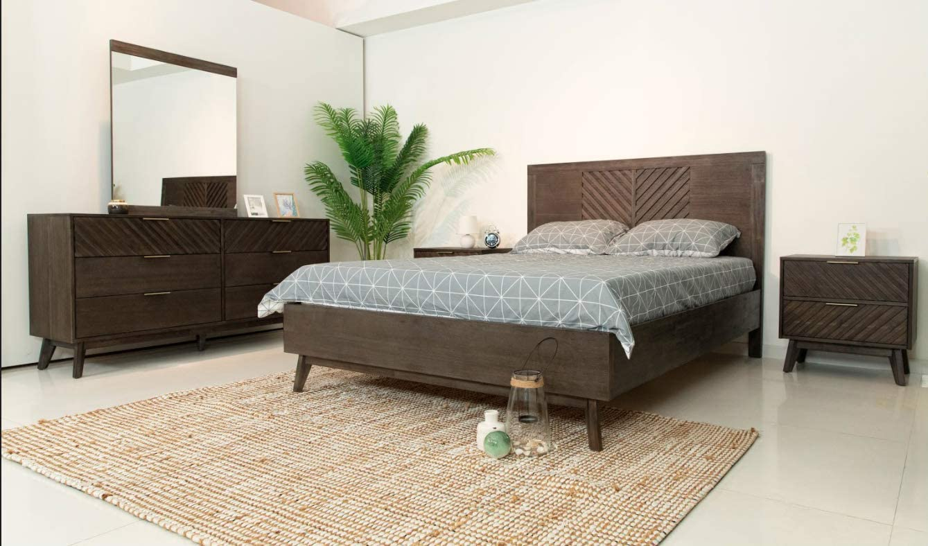 Limari Home Remi Collection Mid-Century Style Bedroom Solid Wood Chevron Pattern Panel Bed, Queen, Dark Acacia