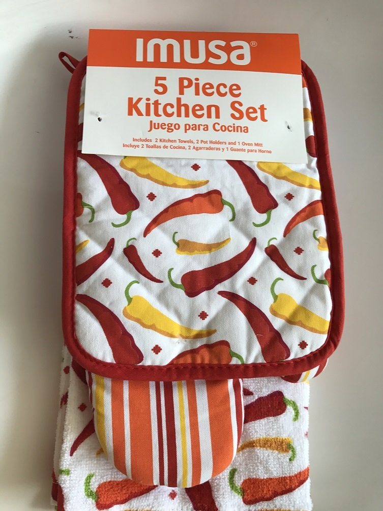 IMUSA 5 Piece Kitchen Towels Set Oven Mitt and Pot Holders Red Chili Peppers