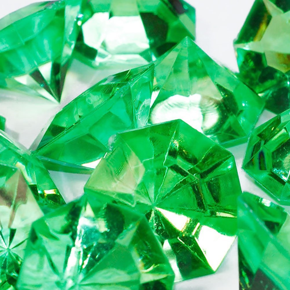 """Custom & Fancy {1'' x 1.25"""" Inch} Approx 60 Pieces/16 oz of Large """"Table"""" Party Confetti Made of Acrylic w/ Pretty Emerald Color Diamond Cut Shape Jewel Tone Clear Scatter Filler Design [Green]"""