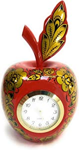 Wooden Clock in The Shape of an Apple. Author's Artistic Hand-Painted Khokhloma.Handmade in Russia by Khokhlomskaya rospis.