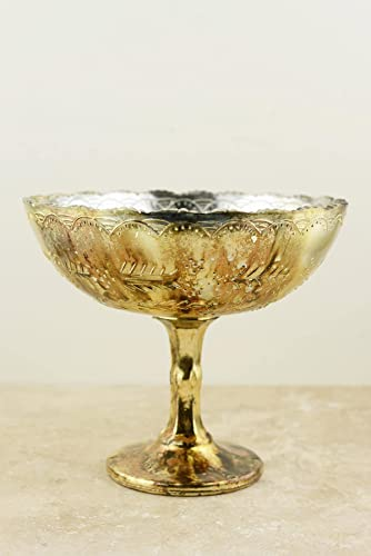 Richland Glass Compote Desiray 8 x 7 Gold Set of 6