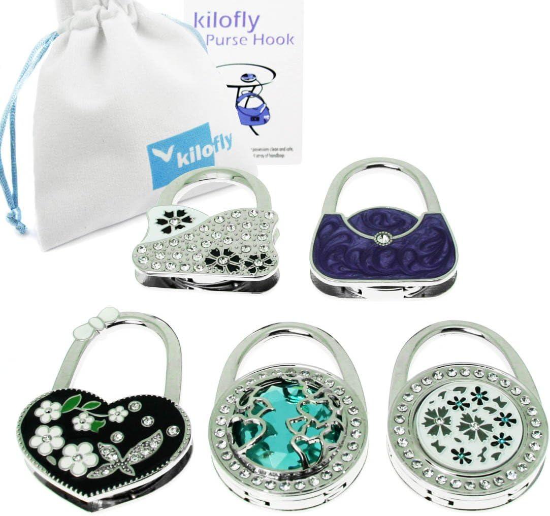 Kilofly Purse Hook Lot de 5 crochets de sac /à main pliables Motif fleurs//lac Avec pochette cadeau