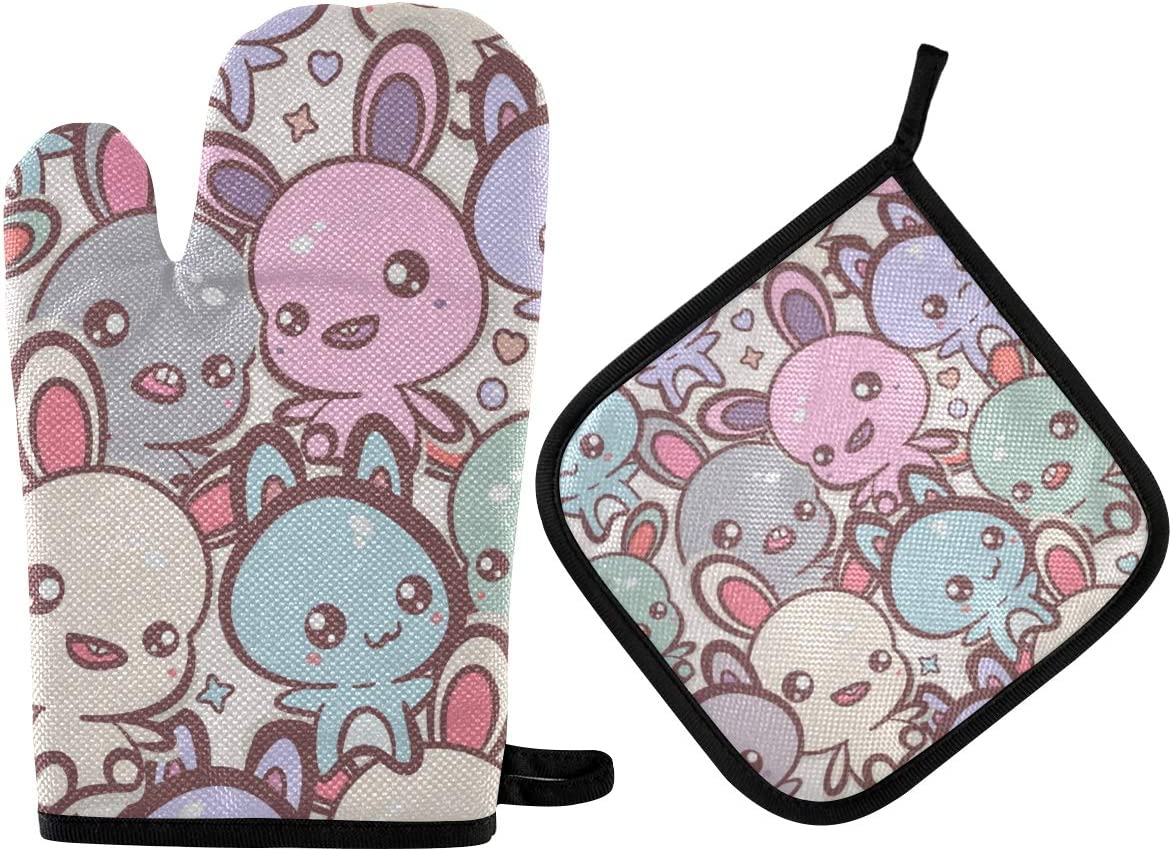 DOMIKING Pot Holders Oven Mitts Sets - Kawaii Bunnies Cats Colorful Hot Gloves Heat Resistant Hot Pads Non-Slip Potholders for Kitchen Cooking Grilling