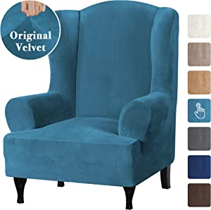 Velvet Plush Stretch Wingback Chair Covers Wing Chair Slipcover Wing Chair Covera Furniture Covers for Wingback Chairs Living Room, Feature Soft Thick Smooth Fabric Machine Washable, Peacock Blue