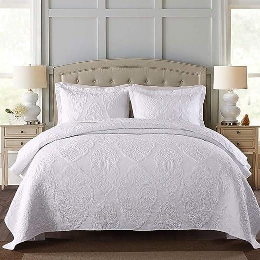 Amazon Com Brandream White Quilt Set Queen Size Farmhouse Paisley Comforter Set Vintage Quilt Set White Paisley Kitchen Dining