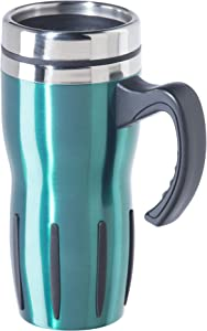 OGGI Mulitigrip Stainless Steel Thermal Travel Mug - Peacock, 16oz, with slide open lid for hot and cold beverages.