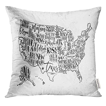 Amazon Com Upoos Throw Pillow Cover Vintage Usa Map With States