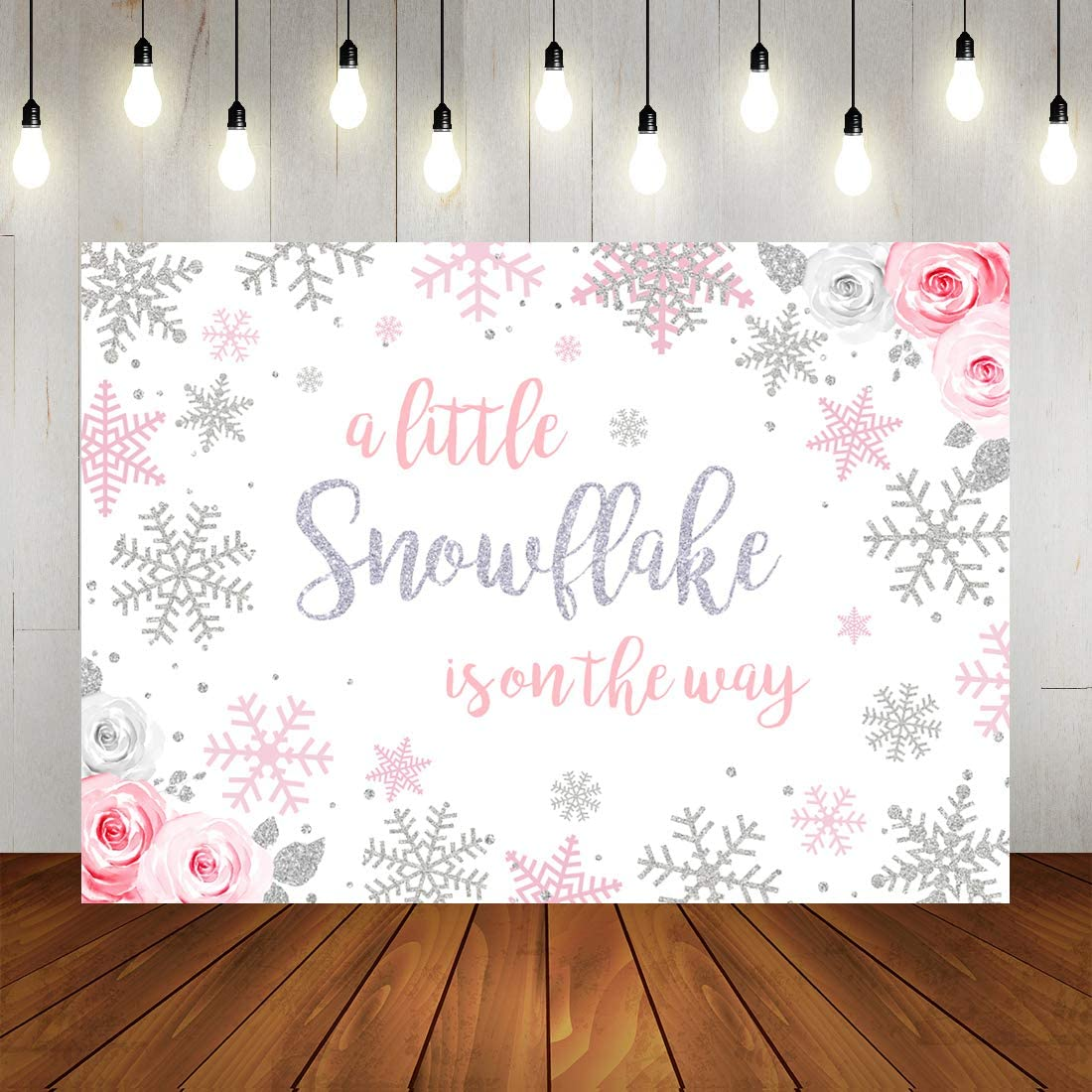 Winter Snowflake Baby Shower Backdrop Winter Wonderland Baby Shower Party Background for Girl Watercolor Floral Baby Shower Decorations Banner Photo Booth Props 7x5ft