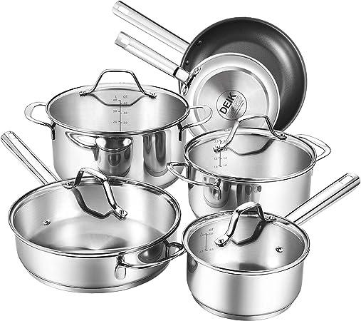 Deik Cookware Kitchenware Set, MultiClad Pro Stainless Steel Pots and Pans Set, Rustproof Oven-Safe Cooking Pots, PFOA Free Riveted Handles