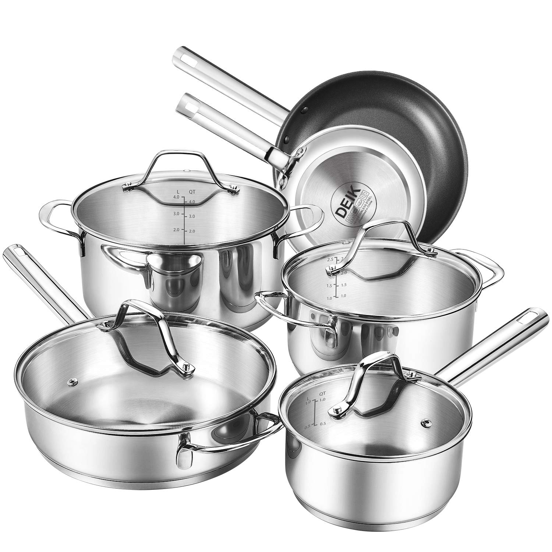 Deik Cookware Kitchenware Set, MultiClad Pro Stainless Steel Pots and Pans  Set, Rustproof & Oven-Safe Cooking Pots, PFOA Free & Riveted Handles