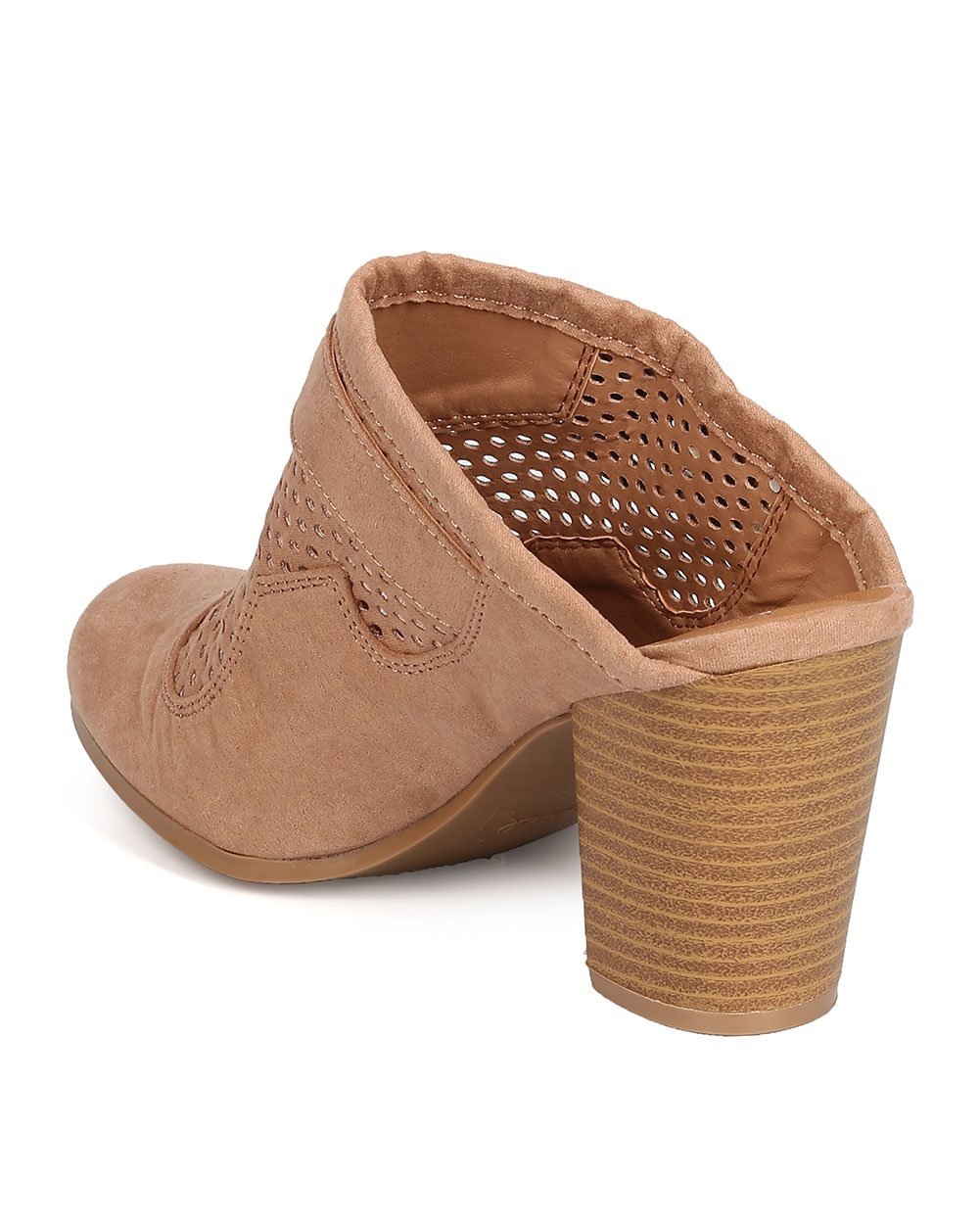 Qupid Women Faux Suede Perforated Buckled Chunky Heel Mule FD91 - Taupe (Size: 7.5) by Qupid (Image #3)