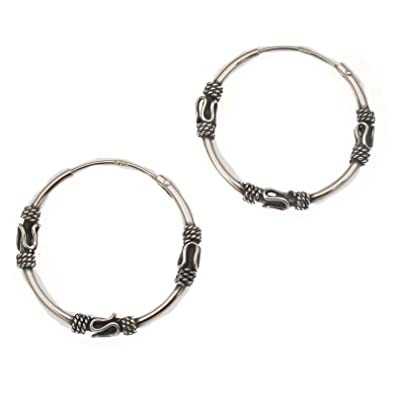 Sterling Silver Medium Bali Hoop earrings, three wires pattern - Size: 24mm 6211