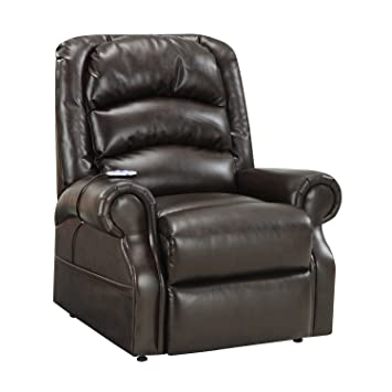 Delightful Home Meridian Hayden Power Lift Chair With Heat U0026 Massage   Chocolate  Bonded Leather