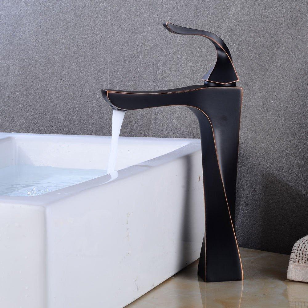 AQiMM Waschbecken Wasserhahn Bad Armatur Kupfer Schwarz Einzelne Bohrung Kaltes Wasser Schwarz  Waschtischarmatur Badezimmer Waschbeckenamatur