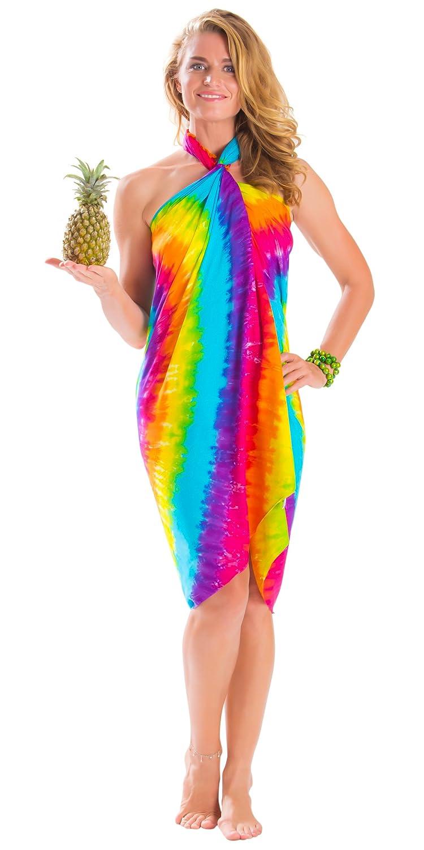 1 World Sarongs Damen Batik Badeanzug Cover-Up Sarong als Diamant Regenbogen SARONG-KD-TDYE-79