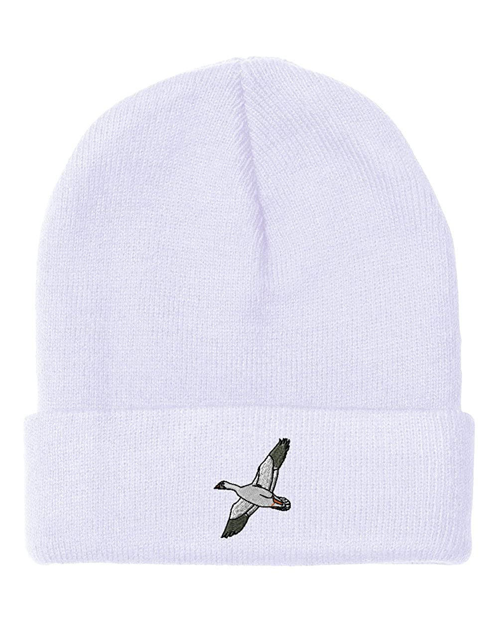 17cbf912814 Amazon.com  Snow Goose Embroidery Embroidered Beanie Skully Hat Cap White   Clothing
