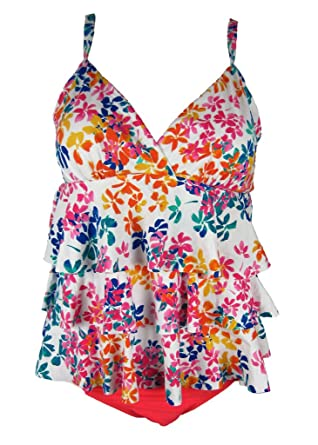 01ed6b2f7 Island Escape Real Bodies Real Solutions Womens Floral-Print Tiered Tankini  Top (8,