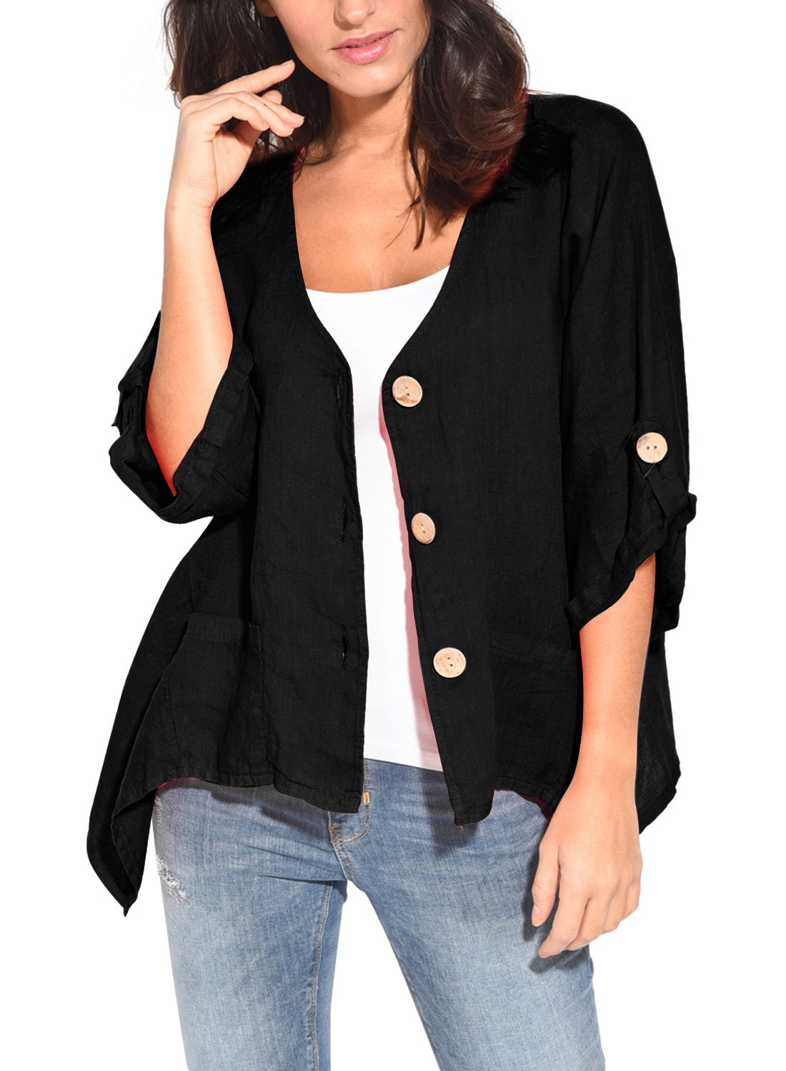 HOTAPEI Women's Balck 3/4 Roll up Sleeve Button Down Linen Summer Casual Kimono Cardigan Shirts Loose Blouses Tops,Large