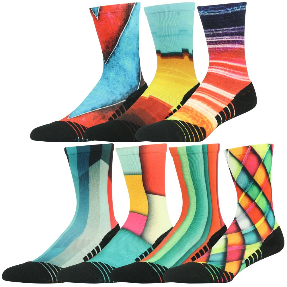 HUSO Fashion Colorful Print Running Sports Compression Quick Wicking Socks 7 Pairs for Men Women (Multicolor, L/XL)