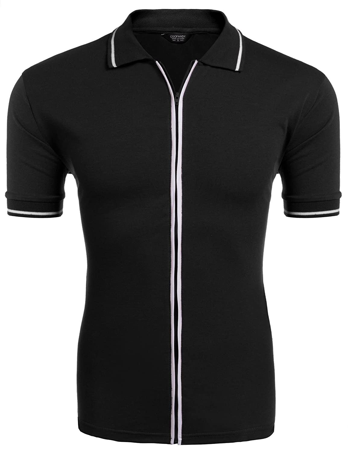 1960s Men's Clothing COOFANDY Mens Full Zip Polo Shirt Slim Fit Casual Cotton Contrast T Shirts $19.99 AT vintagedancer.com
