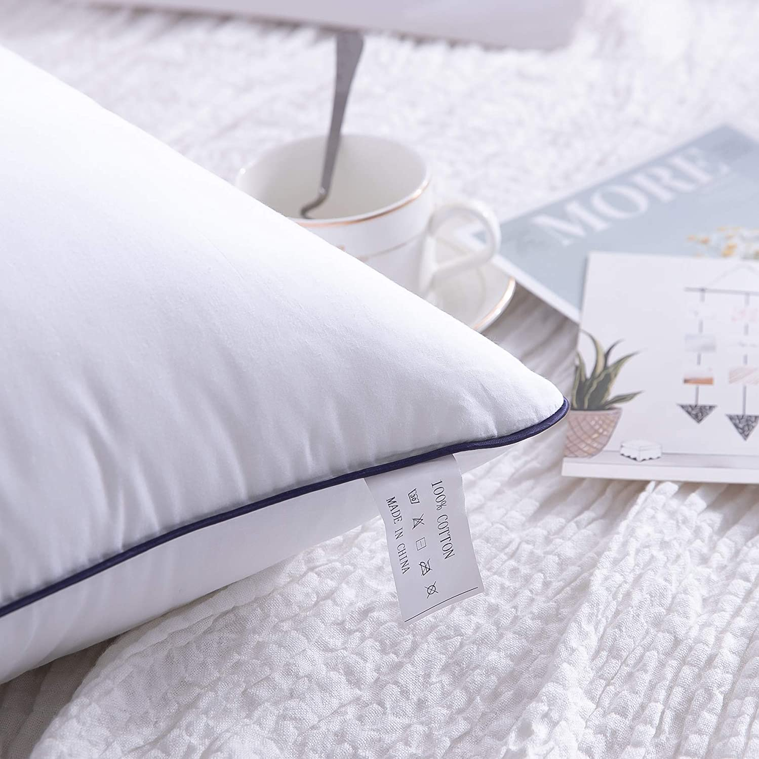 Hypoallergenic and Breathable White, Queen AYASW-Cotton Pillows Bed Pillows Queen Set of 2 with Medium Softness