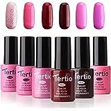 Tertio Soak Off Gel Nail Polish Set, UV LED Nail kit Pink Varnish, Pack of 6 Colors 10ml, Valentine's Day Gift 2018 Series