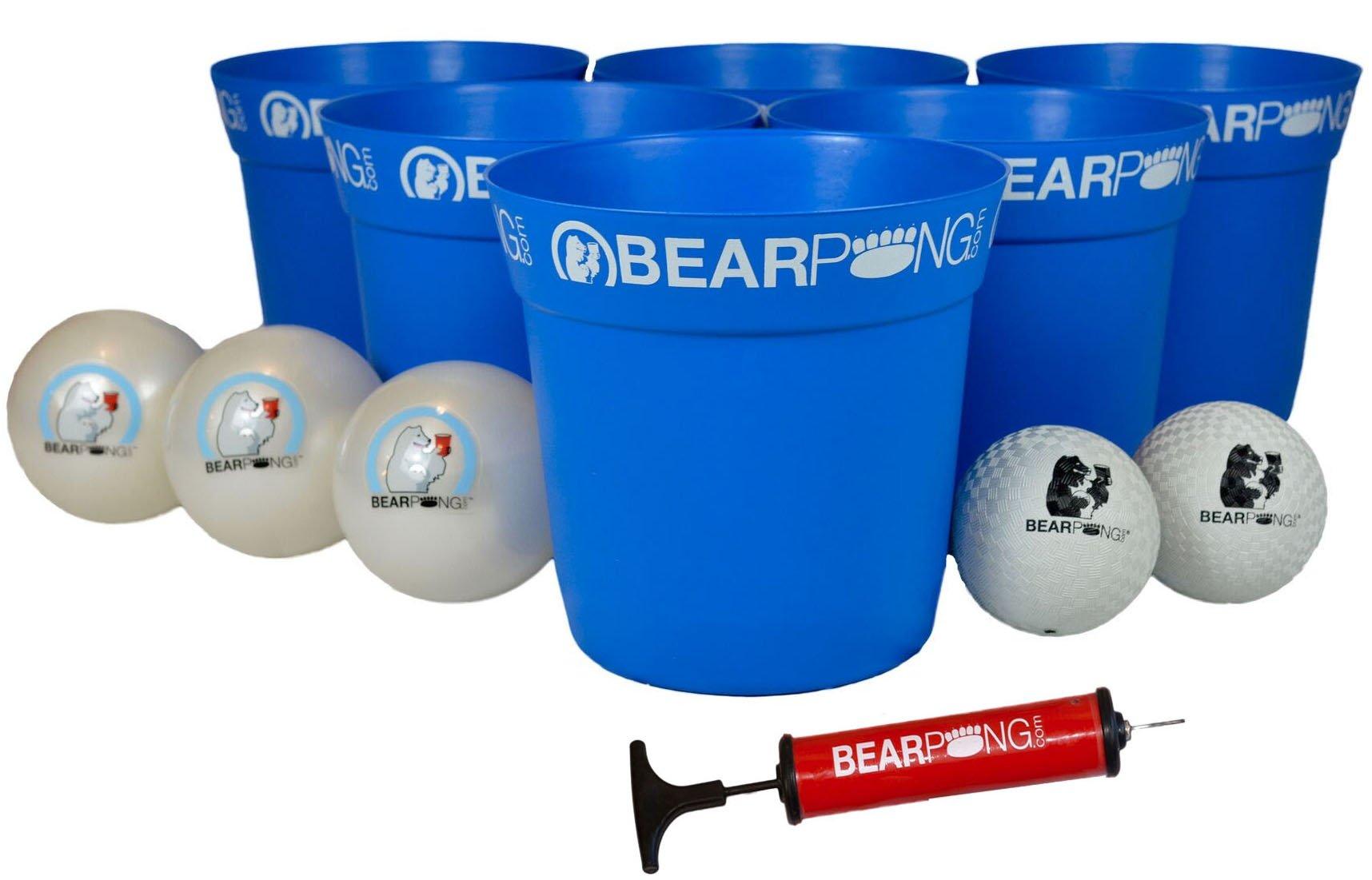 Bearpong Deluxe Game Set: 12 BEARPONG Buckets, 3 BEARPONG Balls, 2 Beach Balls, 1 Ball Pump with Carrying Case, and Instructions (Blue)