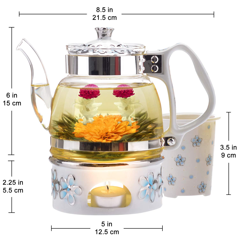 Teabloom Princess of Monaco Teapot & Blooming Tea Gift Set (6 Pieces) - Borosilicate Glass Teapot (34oz/1000ml), Porcelain Lid, Teapot Warmer, Porcelain Tea Infuser + 2 Berry Flowering Teas by Teabloom (Image #7)