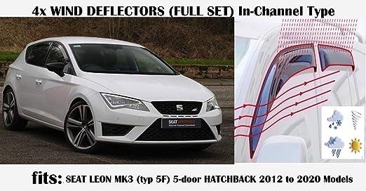 SEAT LEON CUPRA 13 ONWARDS WIND DEFLECTORS RAIN DEFLECTORS COMPLETE SET OF 4