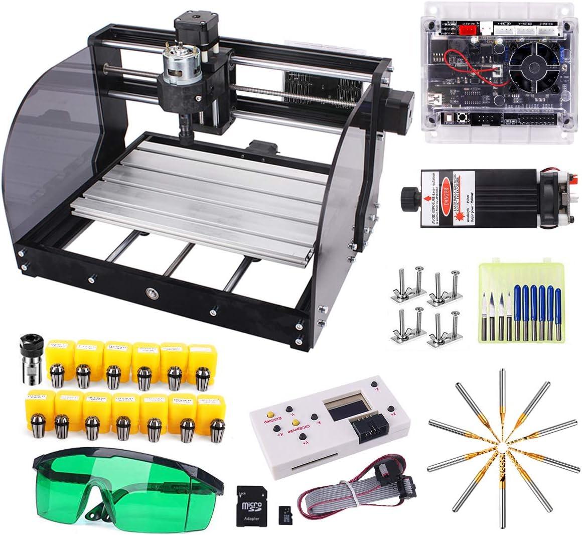 3018-Pro 7000MW avec tige dextension ER11 Collet Set Yofuly 3 axes PCB PVC Zone de travail 300x180x45mm 7W Laser Upgrade CNC 3018 Pro-M Grbl Control DIY Machine de gravure CNC avec carte prot/ég/ée